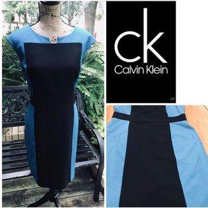 Calvin Klein blue/ black sleeveless sheath dress.